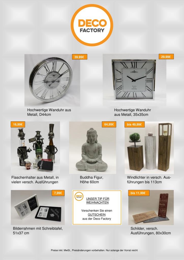 Wanduhren, Flaschenhalter, Windlichter, Bilderrahmen, Buddhafigur, Schilder mit Sprüchen